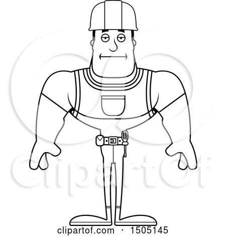 Clipart of a Black and White Bored Buff Male Construction Worker - Royalty Free Vector Illustration by Cory Thoman