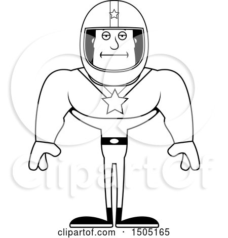 Clipart of a Black and White Bored Buff Male Race Car Driver - Royalty Free Vector Illustration by Cory Thoman