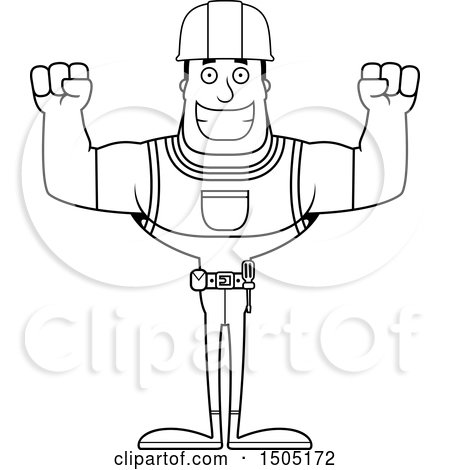 Clipart of a Black and White Cheering Buff Male Construction Worker - Royalty Free Vector Illustration by Cory Thoman