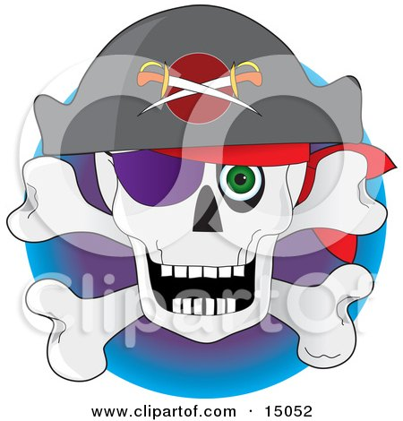 Pirates Skull And Crossbones With A Hat Eye Patch And Green Eye Clipart Illustration