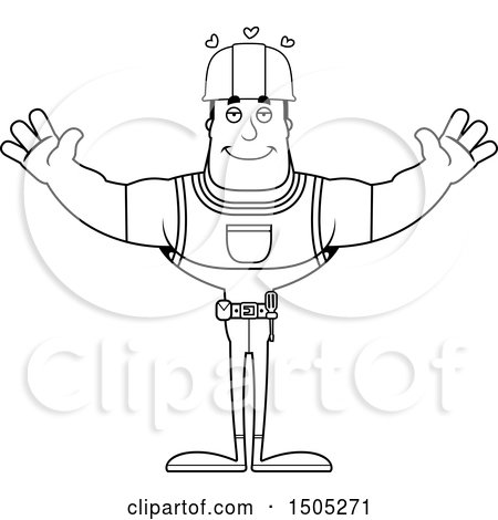 Clipart of a Black and White Buff Male Construction Worker with Open Arms - Royalty Free Vector Illustration by Cory Thoman