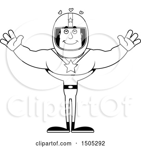 Clipart of a Black and White Buff Male Race Car Driver with Open Arms and Hearts - Royalty Free Vector Illustration by Cory Thoman