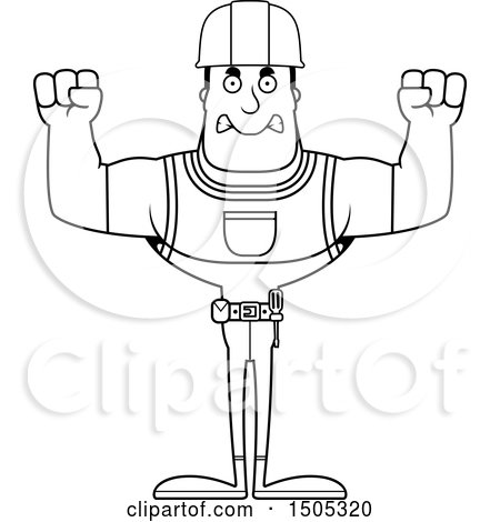 Clipart of a Black and White Mad Buff Male Construction Worker - Royalty Free Vector Illustration by Cory Thoman