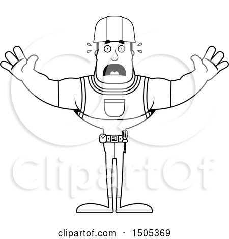 Clipart of a Black and White Scared Buff Male Construction Worker - Royalty Free Vector Illustration by Cory Thoman