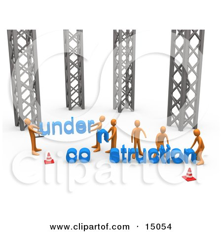 Group Of Orange Men Working Together To Build A New Website That Clipart Graphic by 3poD