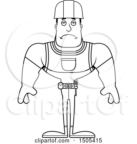 Clipart of a Black and White Sad Buff Male Construction Worker - Royalty Free Vector Illustration by Cory Thoman