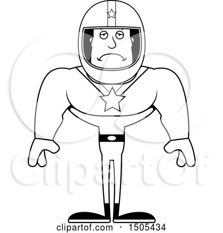 Clipart of a Black and White Sad Buff Male Race Car Driver - Royalty Free Vector Illustration by Cory Thoman