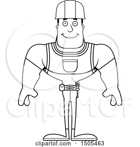 Clipart of a Black and White Happy Buff Male Construction Worker - Royalty Free Vector Illustration by Cory Thoman