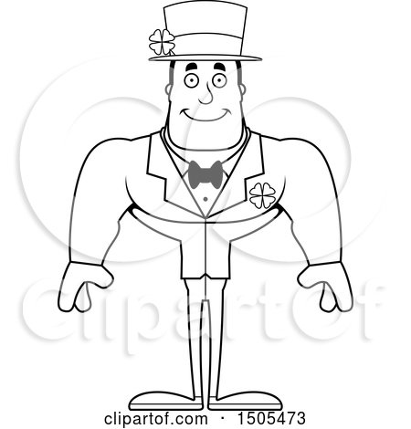 Clipart of a Black and White Happy Buff Irish Man - Royalty Free Vector Illustration by Cory Thoman