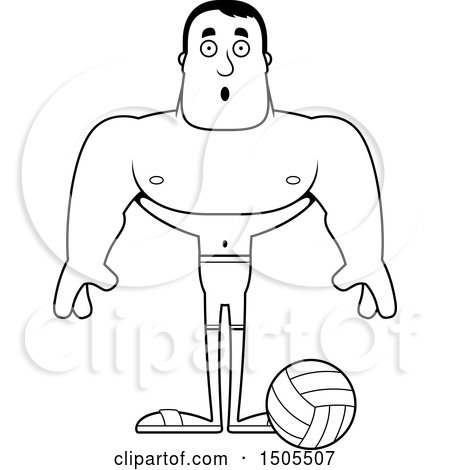 Clipart Of A Black And White Surprised Buff Male Beach Volleyball