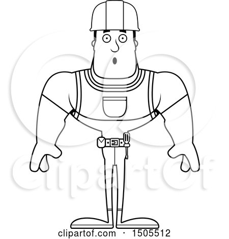 Clipart of a Black and White Surprised Buff Male Construction Worker - Royalty Free Vector Illustration by Cory Thoman