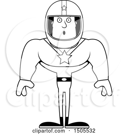 Clipart of a Black and White Surprised Buff Male Race Car Driver - Royalty Free Vector Illustration by Cory Thoman