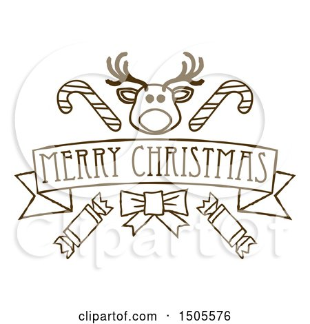 Clipart Of A Merry Christmas Banner With Reindeer Crackers And Candy Canes