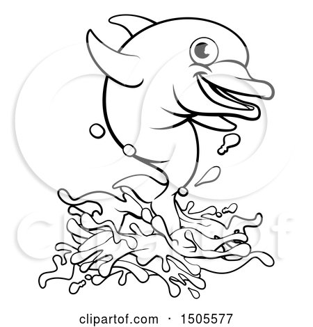 Clipart of a Black and White Happy Dolphin Jumping - Royalty Free Vector Illustration by AtStockIllustration