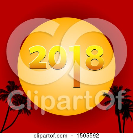 Clipart of a New Year 2018 Sun over a Red Sky and Silhouetted Palm Trees - Royalty Free Vector Illustration by elaineitalia