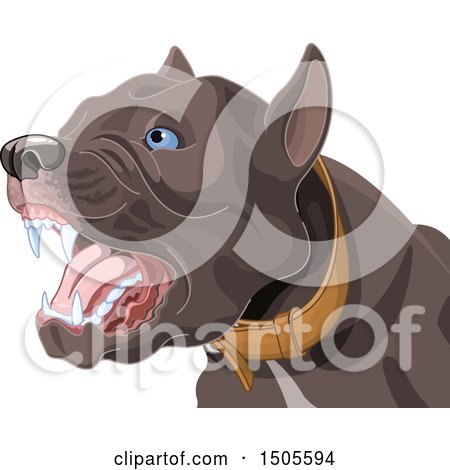 Clipart of a Barking Aggressive Pit Bull Dog - Royalty Free Vector Illustration by Pushkin