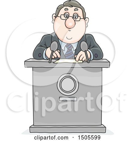 Clipart of a Cartoon White Business Man or Politician Giving a Speech - Royalty Free Vector Illustration by Alex Bannykh