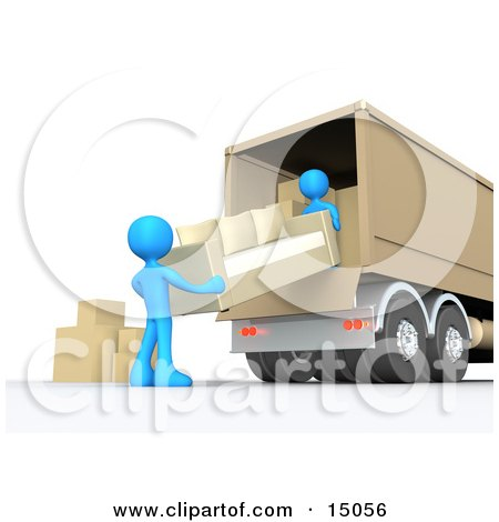 Two Blue Male Figures Lifting And Loading Or Unloading A Beige Living Room Sofa And Boxes Into A Brown Moving Truck Posters, Art Prints