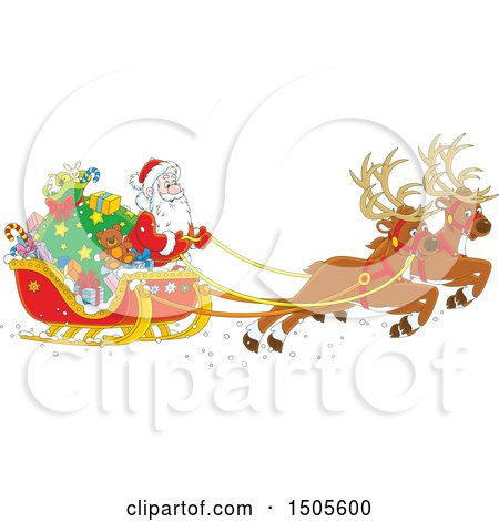 Clipart of a Scene of Santas Christmas Reindeer and Sleigh - Royalty Free Vector Illustration by Alex Bannykh