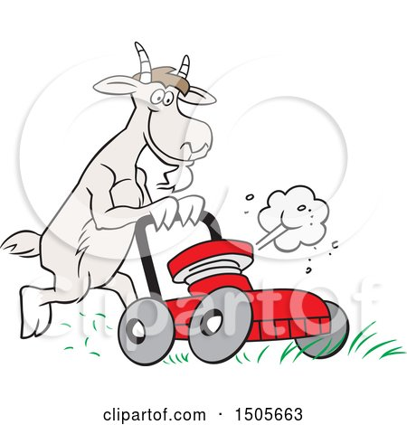 Clipart of a Goat Pushing a Lawn Mower - Royalty Free Vector Illustration by Johnny Sajem