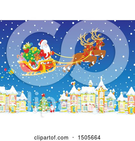 Clipart of Santa Flying His Sleigh in the Snow over a Village - Royalty Free Vector Illustration by Alex Bannykh
