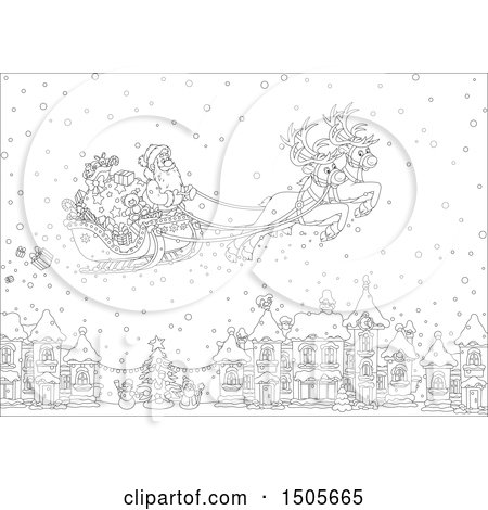 Clipart of a Black and White Santa Flying His Sleigh in the Snow over a Village - Royalty Free Vector Illustration by Alex Bannykh