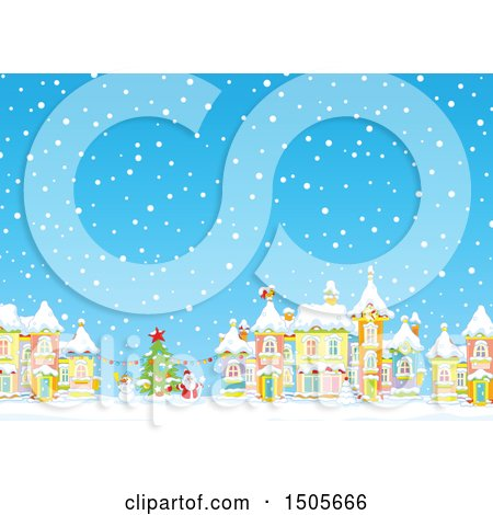 Clipart of a Snowy Day in a Winter Christmas Village - Royalty Free Vector Illustration by Alex Bannykh
