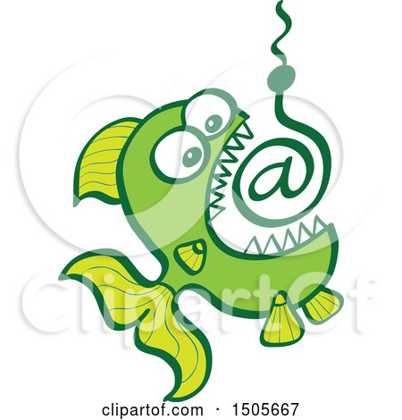 Clipart of a Green Fish Biting Click Bait Arobase at Email Symbol - Royalty Free Vector Illustration by Zooco
