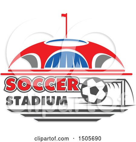 Clipart of a Stadium Arena and Soccer Ball Design - Royalty Free Vector Illustration by Vector Tradition SM