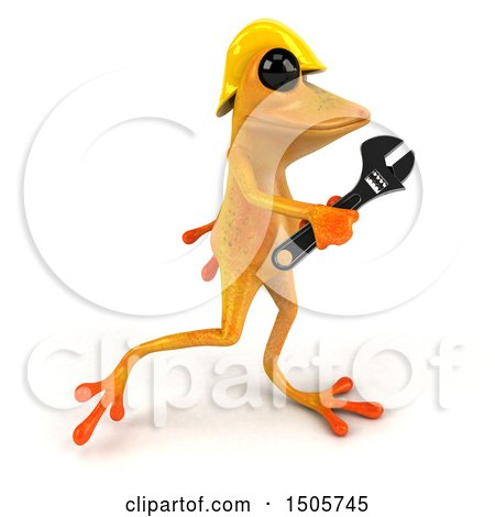 Clipart of a 3d Yellow Frog Construction Worker, on a White Background - Royalty Free Illustration by Julos