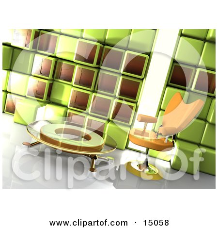 Orange Chair By A Glass Coffee Table In A Modern Office Lobby Or Living Room With A Green And Brown Cube Wall Posters, Art Prints