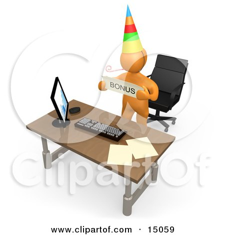 Well Deserving Orange Figure Employee Wearing A Party Hat And Blowing On A Noise Maker While Standing Behind His Office Desk And Holding A Bonus Sign Posters, Art Prints