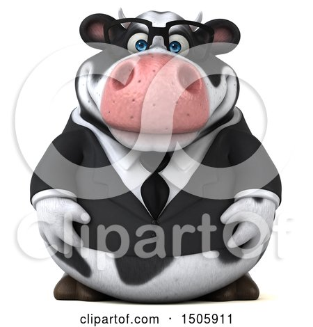 Clipart of a 3d Business Holstein Cow, on a White Background - Royalty Free Illustration by Julos