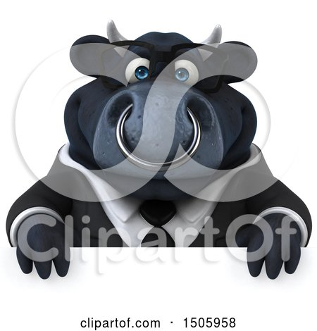 Clipart of a 3d Black Business Bull over a Sign, on a White Background - Royalty Free Illustration by Julos