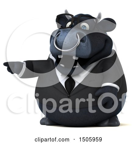 Clipart of a 3d Black Business Bull Pointing, on a White Background - Royalty Free Illustration by Julos