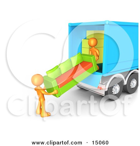Two Orange Male Figures Lifting And Loading A Green And Orange Living Room Sofa Into A Blue Moving Truck Clipart Graphic by 3poD