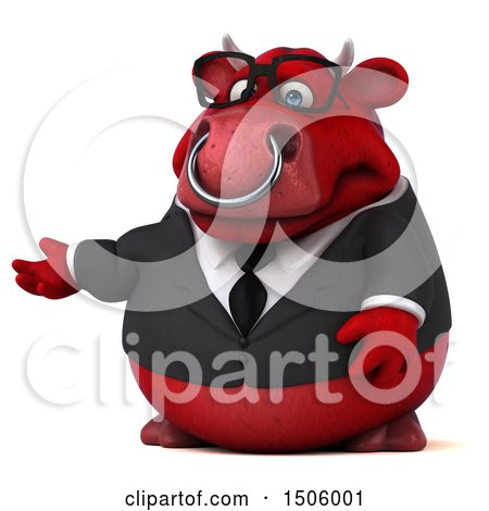 Clipart of a 3d Red Business Bull Presenting, on a White Background - Royalty Free Illustration by Julos