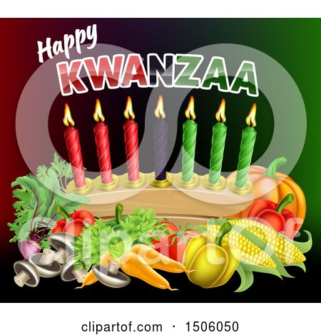 Clipart of a Happy Kwanzaa Greeting with Vegetables and Candles - Royalty Free Vector Illustration by AtStockIllustration