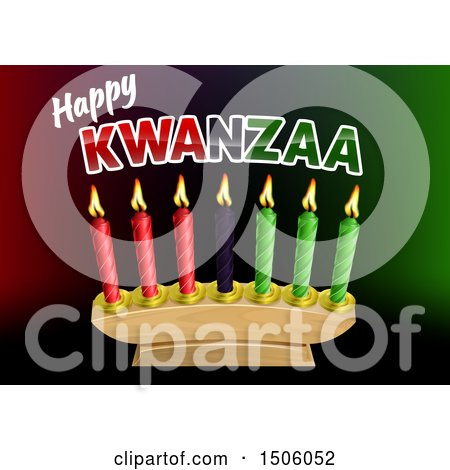 Clipart of a Happy Kwanzaa Greeting and Candles - Royalty Free Vector Illustration by AtStockIllustration