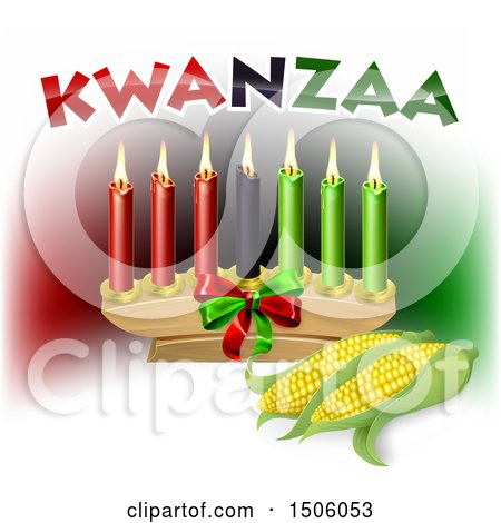 Clipart of Kwanzaa Candles with Corn and Text - Royalty Free Vector Illustration by AtStockIllustration