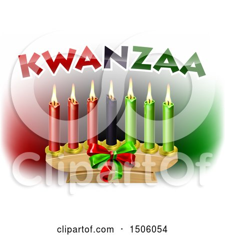 Clipart of Kwanzaa Candles and Text - Royalty Free Vector Illustration by AtStockIllustration