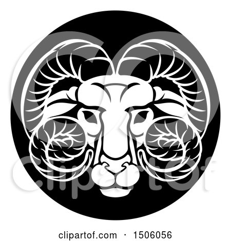 Clipart of a Zodiac Horoscope Astrology Aries Ram Circle Design, Black and White - Royalty Free Vector Illustration by AtStockIllustration