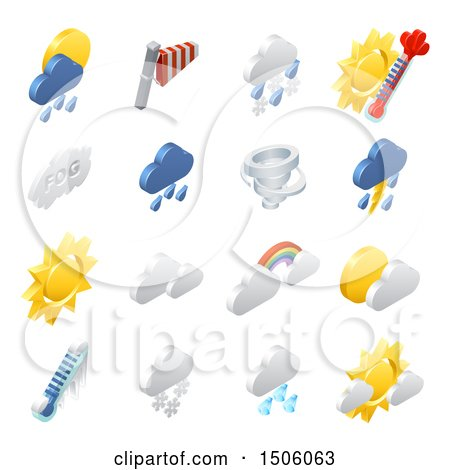 Clipart of 3d Isometric Weather Forecast Icons - Royalty Free Vector Illustration by AtStockIllustration