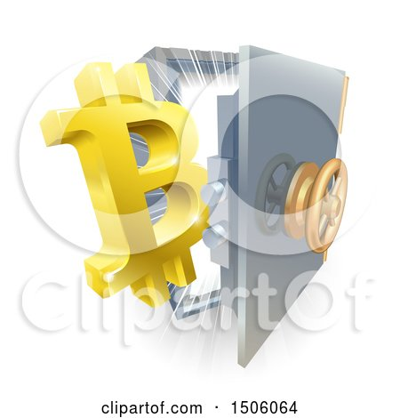 Clipart of a 3d Gold Bitcoin Currency Symbol and Light Emerging from a Vault - Royalty Free Vector Illustration by AtStockIllustration