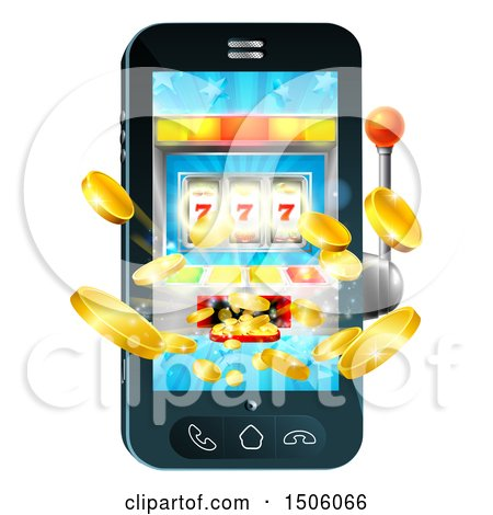 Clipart of a 3d Casino Slot Machine Spitting out Coins from a Mobile Phone Screen - Royalty Free Vector Illustration by AtStockIllustration