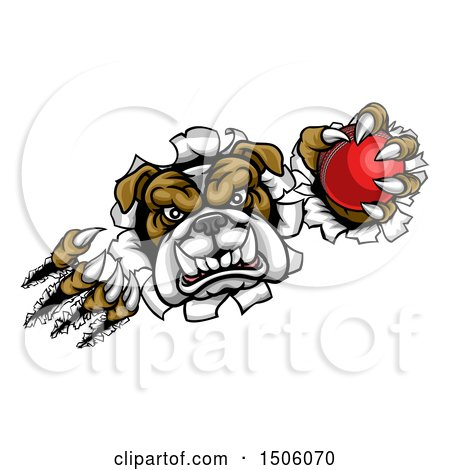 Clipart of a Tough Bulldog Monster Shredding Through a Wall with a Cricket Ball in One Hand - Royalty Free Vector Illustration by AtStockIllustration