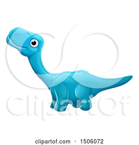 Clipart of a Blue Apatosaurus Dino - Royalty Free Vector Illustration by AtStockIllustration