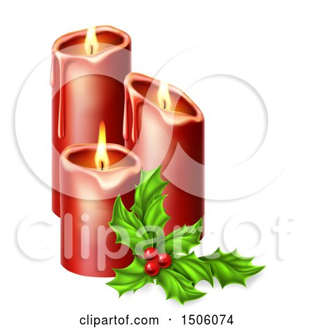 Clipart of a Sprig of Holly and Lit Christmas Candles - Royalty Free Vector Illustration by AtStockIllustration