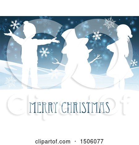 Clipart of a Merry Christmas Greeting with Children and a Snowman - Royalty Free Vector Illustration by AtStockIllustration