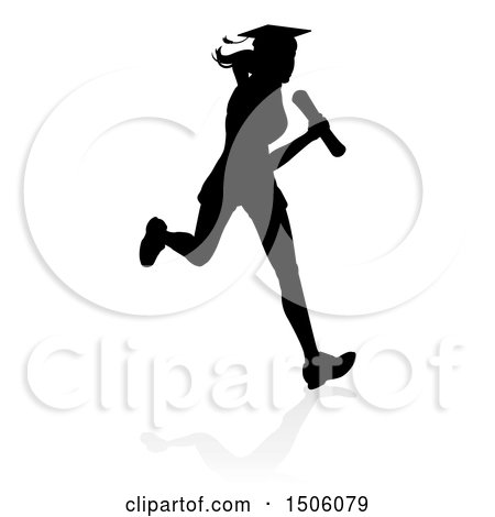 Clipart of a Black Silhouetted Female Graduate Running a Race, with a Shadow - Royalty Free Vector Illustration by AtStockIllustration